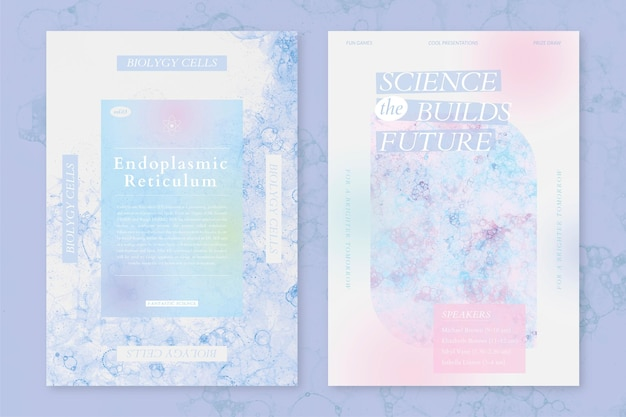 Bubble art science szablon wektor wydarzenie estetyczne plakaty reklamowe podwójny zestaw