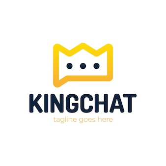 Bubble chat z ilustracja sylwetka korony do projektowania szablonu logo.