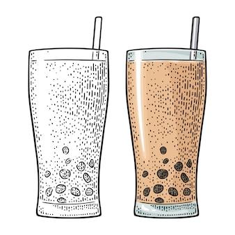 Bubble mleczna herbata z perłową kulką tapioki w szkle. grawerowanie vintage