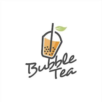 Bubble tea logo design świeże mleko