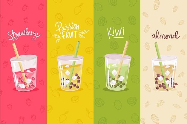 Bubble tea smaki ręcznie rysowane styl