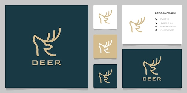 Buck stag deer elk antler head hunting line zarys logo design