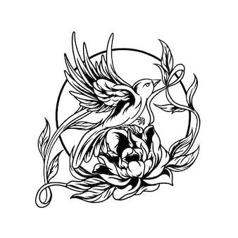 Buczący ptak i ilustracja róża