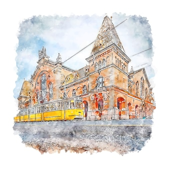 Budapeszt węgry szkic akwarela ręcznie rysowane ilustracja