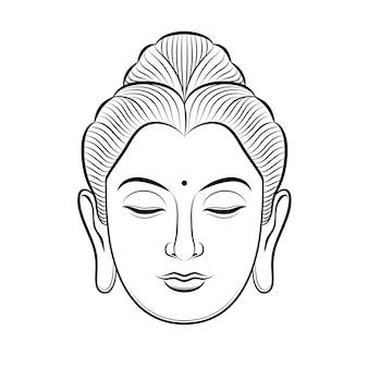 Budda głowa wektor ilustracja linia sztuki na białym tle