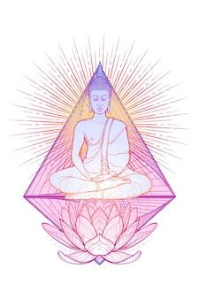 Budda medytuje w pozycji pojedynczego lotosu. heksagram reprezentujący czakrę anahata w jodze na tle.
