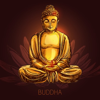 Budda na ilustracji kwiat lotosu