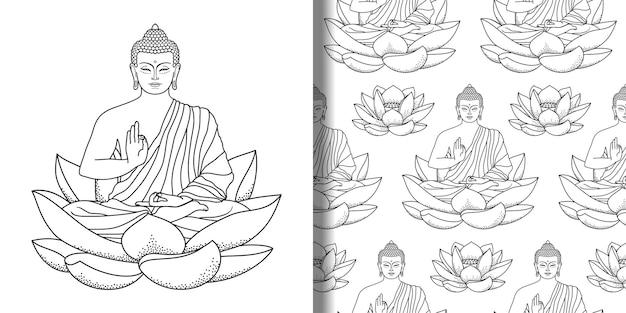 Budda siedzący na druku lotosu i bezszwowym wzorze