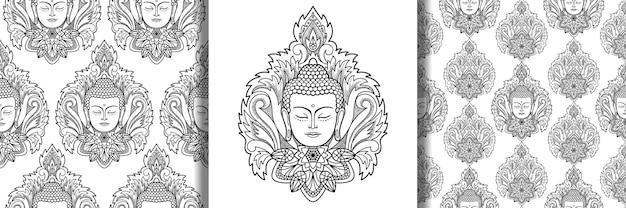 Budda z nadrukiem mandali i bezszwowym wzorem