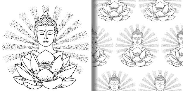 Budda z promieniami i nadrukiem lotosu i bezszwowym wzorem