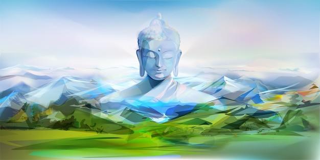 Buddha i góry, wektorowa ilustracja
