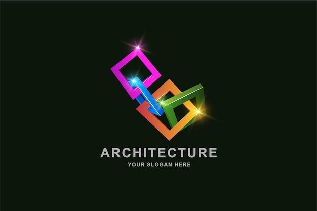 Budowa 3d rama kwadratowy szablon projektu logo