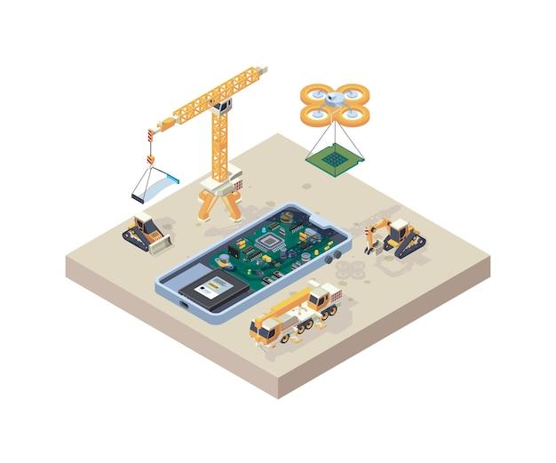 Budowa aplikacji. mikro schemat komputerowy dźwigu ciężarówki do naprawy urządzeń typu smartphone koncepcja izometryczna konstrukcji telefonu.