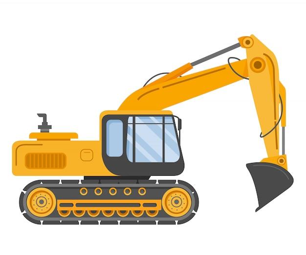 Budowa czerpaka gąsienicowego. koparki hydrauliczne. maszyna budowlana. sprzęt produkcyjny. pojazd przemysłowy.