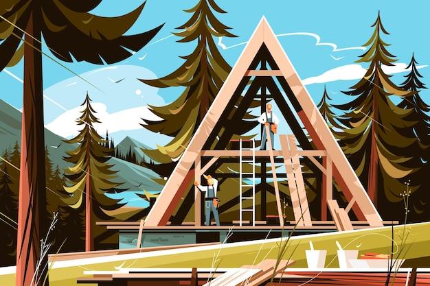 Budowa domu w malowniczym miejscu ilustracji wektorowych