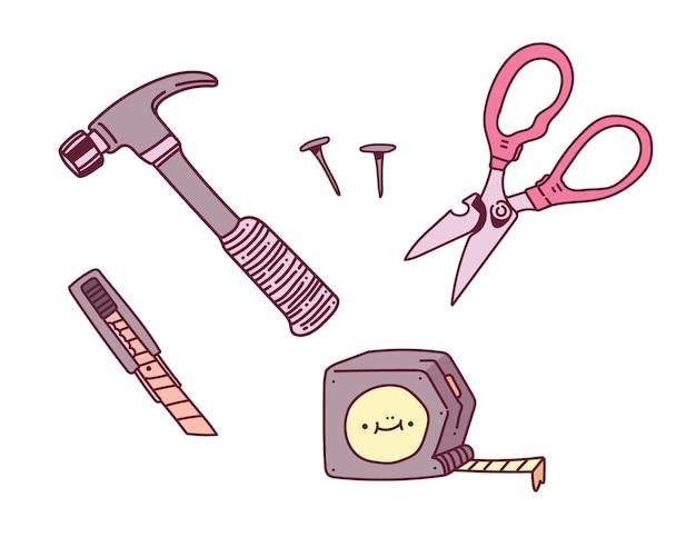 Budowa doodle sztuki. rysunek budowy narzędzia roboczego