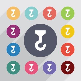Budowa dźwigu koło, płaski zestaw ikon. okrągłe kolorowe guziki. wektor