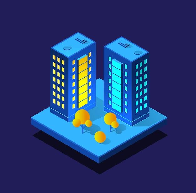 Budowa inteligentnego miasta w nocy. futurystyczny ultrafioletowy moduł infrastruktury miejskiej, budynki izometryczne
