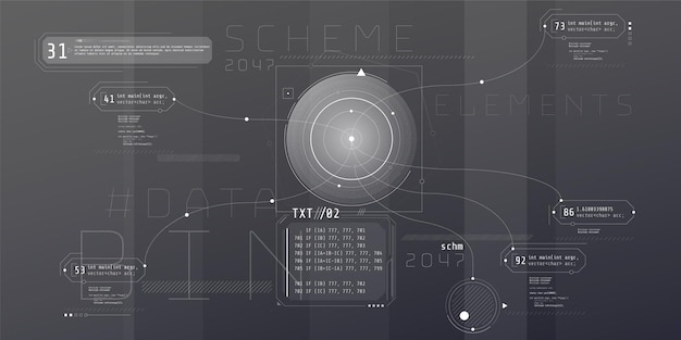 Budowa interfejsu hud komputera z architekturą kodu.