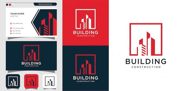 Budowa logo budowy i projektowanie wizytówek, ikona, nowoczesna koncepcja, architektura, osiedle,