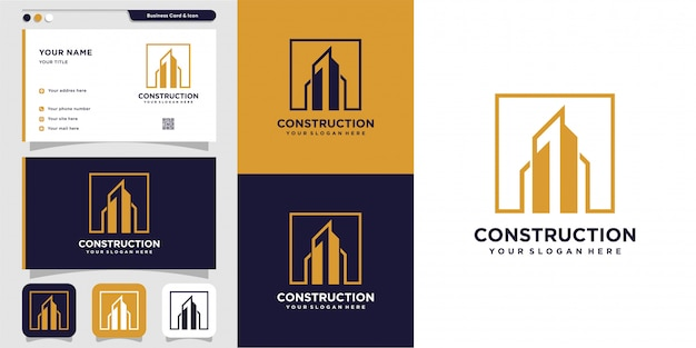 Budowa lub budowa logo i projekt wizytówki