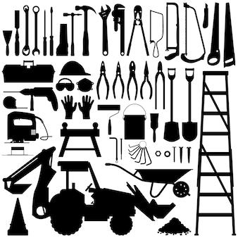 Budowa narzędzia sylwetka wektor. duży zestaw przemysłu narzędzi budowlanych w wektorze sylwetka.