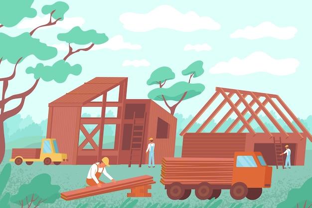 Budowa płaskiej kompozycji drewnianego domu z zewnętrznym krajobrazem i postaciami budowniczego z drewnem na ciężarówce