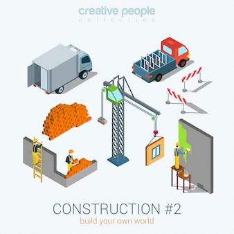 Budowa pojazdów transportowych obiektów zestaw ilustracji izometrycznych van cegły dźwig okno okno blok malarz pracownik pracowników zrobić ścianę