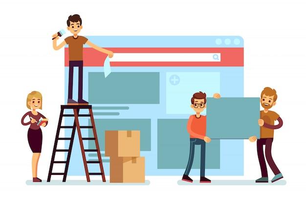 Budowa strony internetowej i projektowanie stron internetowych z zespołem ludzi. koncepcja rozwoju interfejsu internetowego. ilustracja strony rozwoju interfejsu www i interfejsu