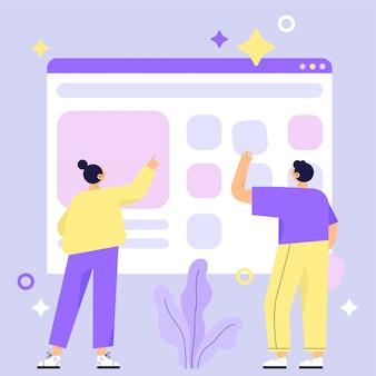 Budowa strony internetowej, proces budowania strony internetowej. projektowanie grafiki mobilnej i internetowej. praca w zespole. ilustracja wektorowa płaskie