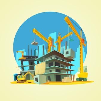 Budowa z budynku żurawiem i ekskawatorem na żółtej tło kreskówce