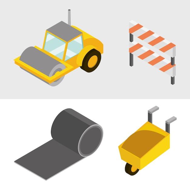 Budowa zestaw ikon taczka walec drogowy i ilustracja izometryczna barykady