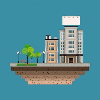 Budować miasto z wielkim pustym miastowym billboardu błękita tłem