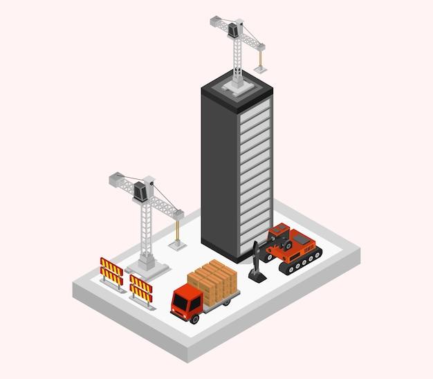 Budowanie budynku izometrycznego