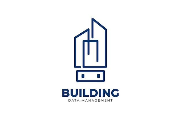 Budowanie danych monoline kreatywne projektowanie logo firmy zabezpieczającej