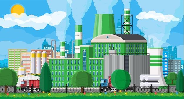 Budowanie fabryki. fabryka przemysłowa, elektrownia. rury, budynki, magazyn, zbiornik magazynowy.