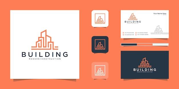 Budowanie inspirujące dzięki logo premium i wizytówce w stylu grafiki liniowej