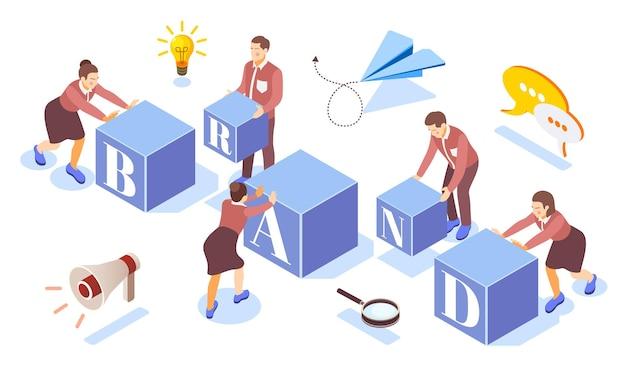 Budowanie marki pomysłów na pracę zespołową uruchamia kompozycję izometryczną z głośnikiem papierowej żarówki samolotu