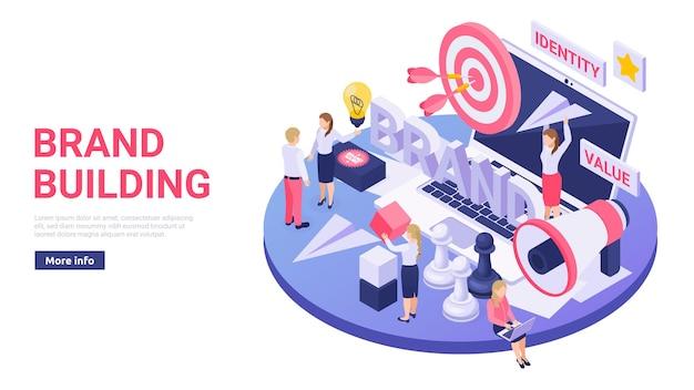 Budowanie marki usług online izometryczna ilustracja z megafonem docelowym papierowym banerem internetowym samolotu powietrznego