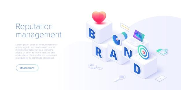 Budowanie strategii marki w izometrycznej ilustracji wektorowych. marketing tożsamości i zarządzanie reputacją. tworzenie wizerunku marki. szablon układu banera internetowego.