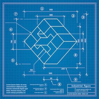 Budownictwo przemysłowe, rysunek blueprint background image
