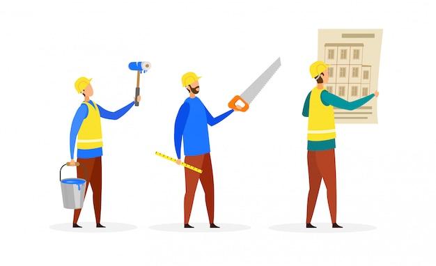 Budowniczowie, zestaw znaków kreskówek załogi budowlane