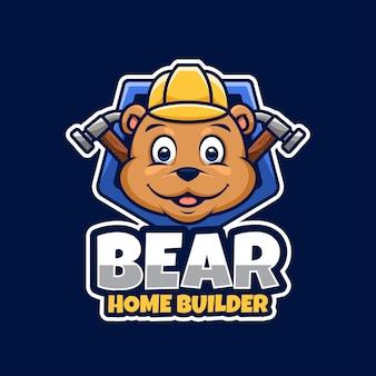 Budowniczy domu lub naprawa z niedźwiedziem grizzly jako maskotką