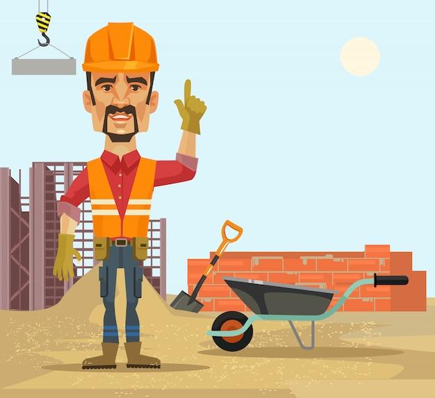 Budowniczy. ilustracja kreskówka płaski