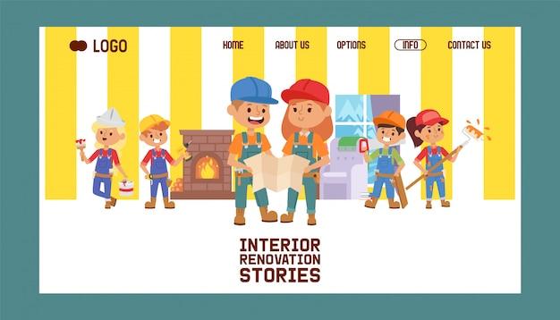 Budowniczy strony internetowej konstruktora dzieci charakteru budynku budowy projekta ilustracja