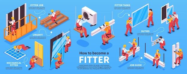Budowniczych i monterów infografiki ilustracja izometryczna