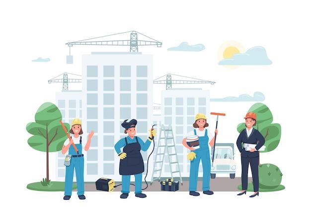 Budowy kobiet pracowników płaski kolor szczegółowe znaki
