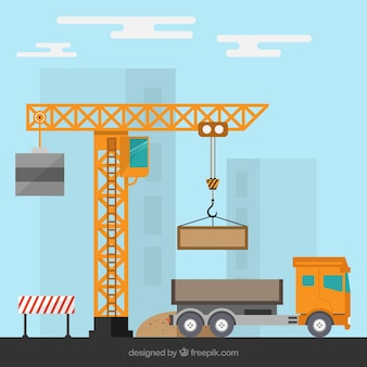 Budowy z dźwigu i ciężarówki
