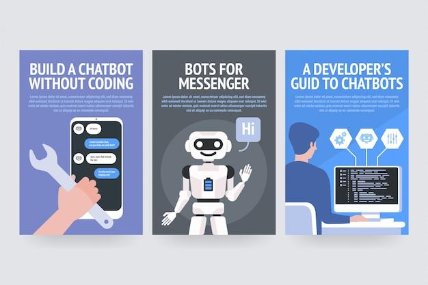 Buduj chatbota bez kodowania. boty dla komunikatora. przewodnik dla twórców chatbotów. plakaty