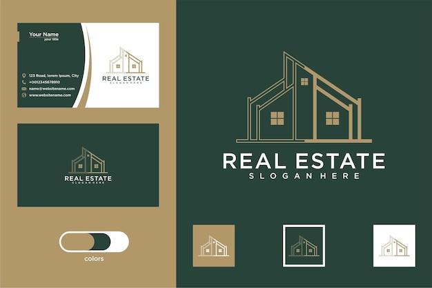 Budynek architektoniczny z projektem logo domu i wizytówką